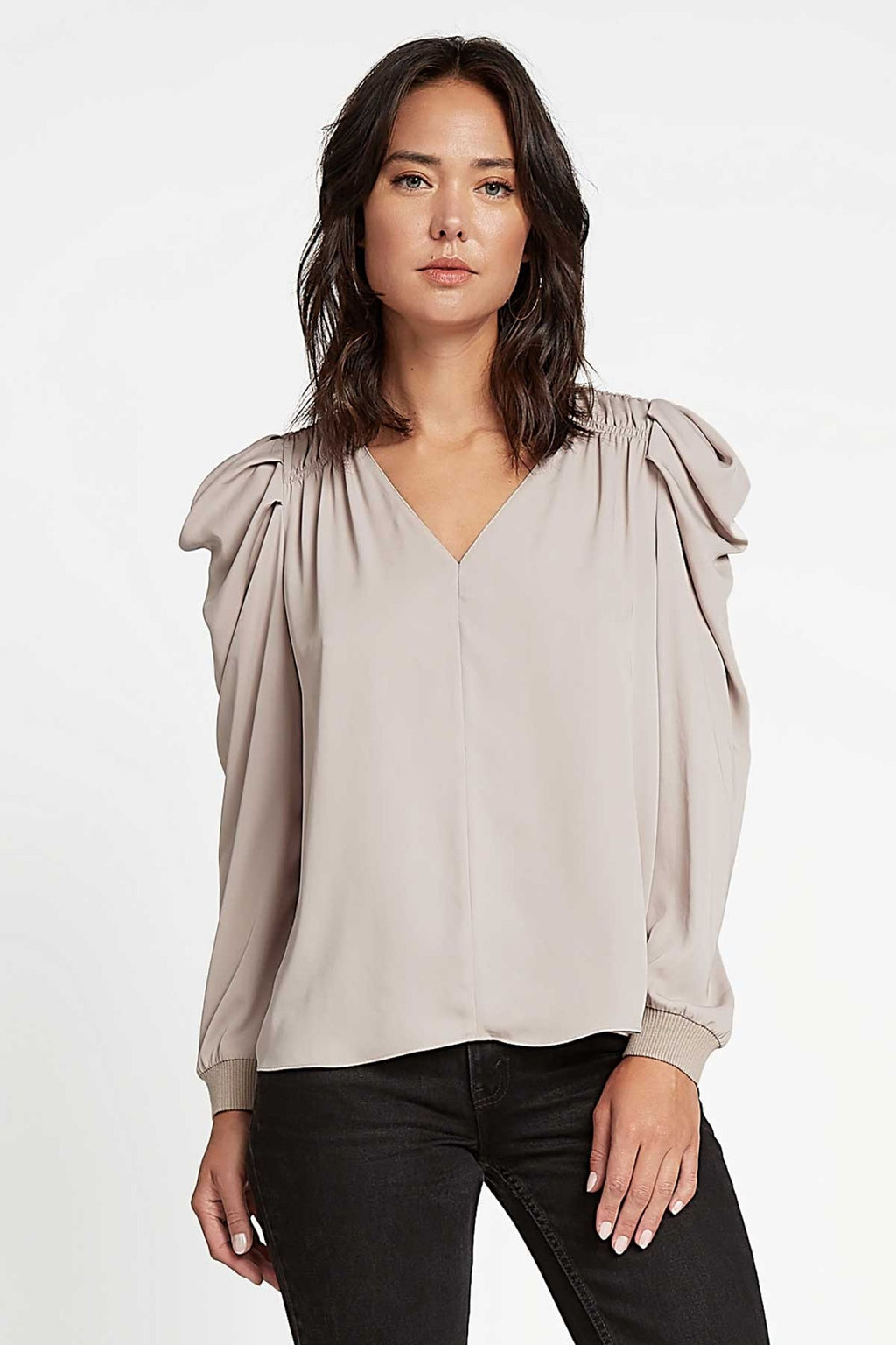 Voluminous Sleeve V-Neck Blouse