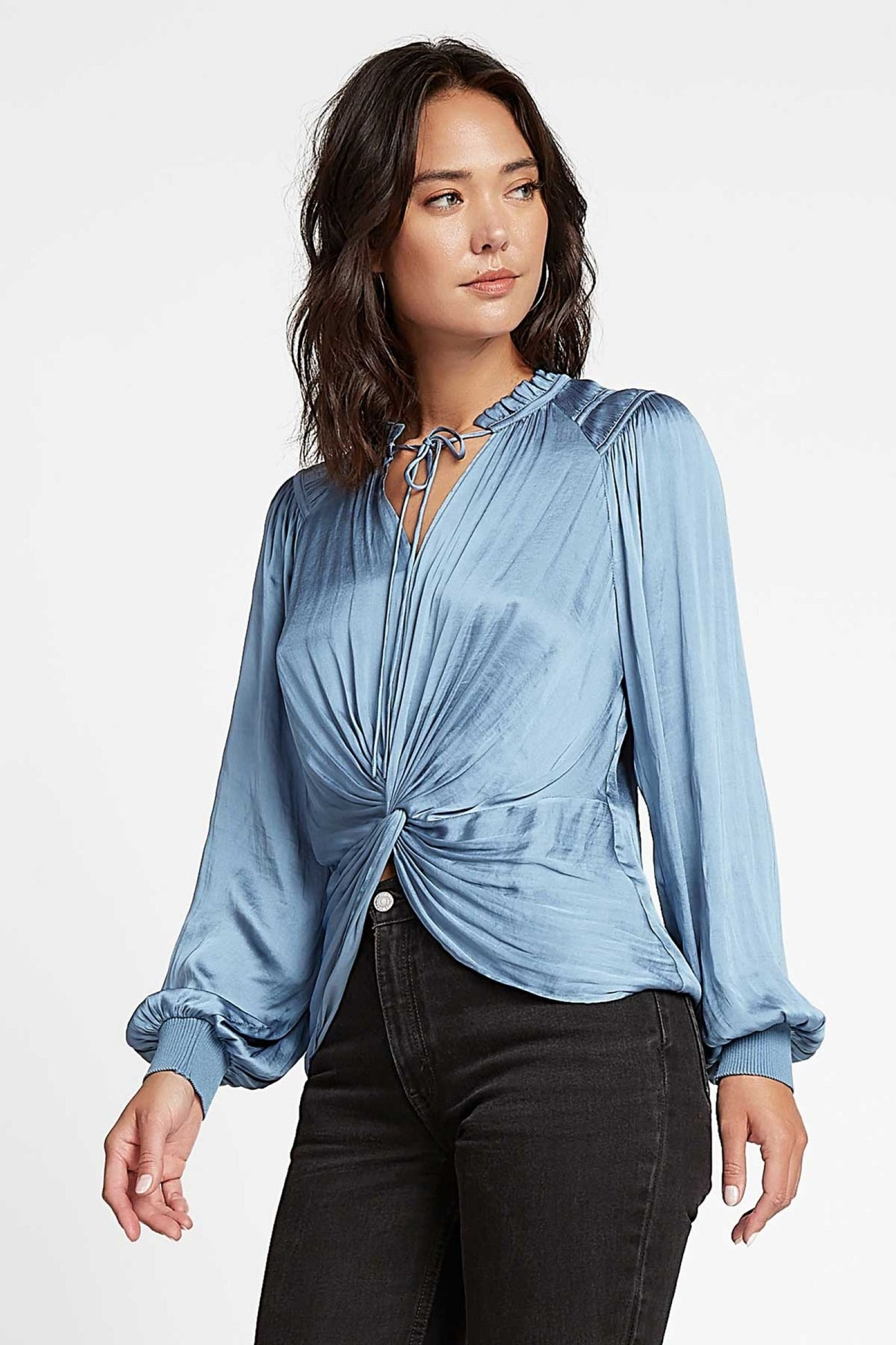 Dusty Blue Front Twist Top with Tie