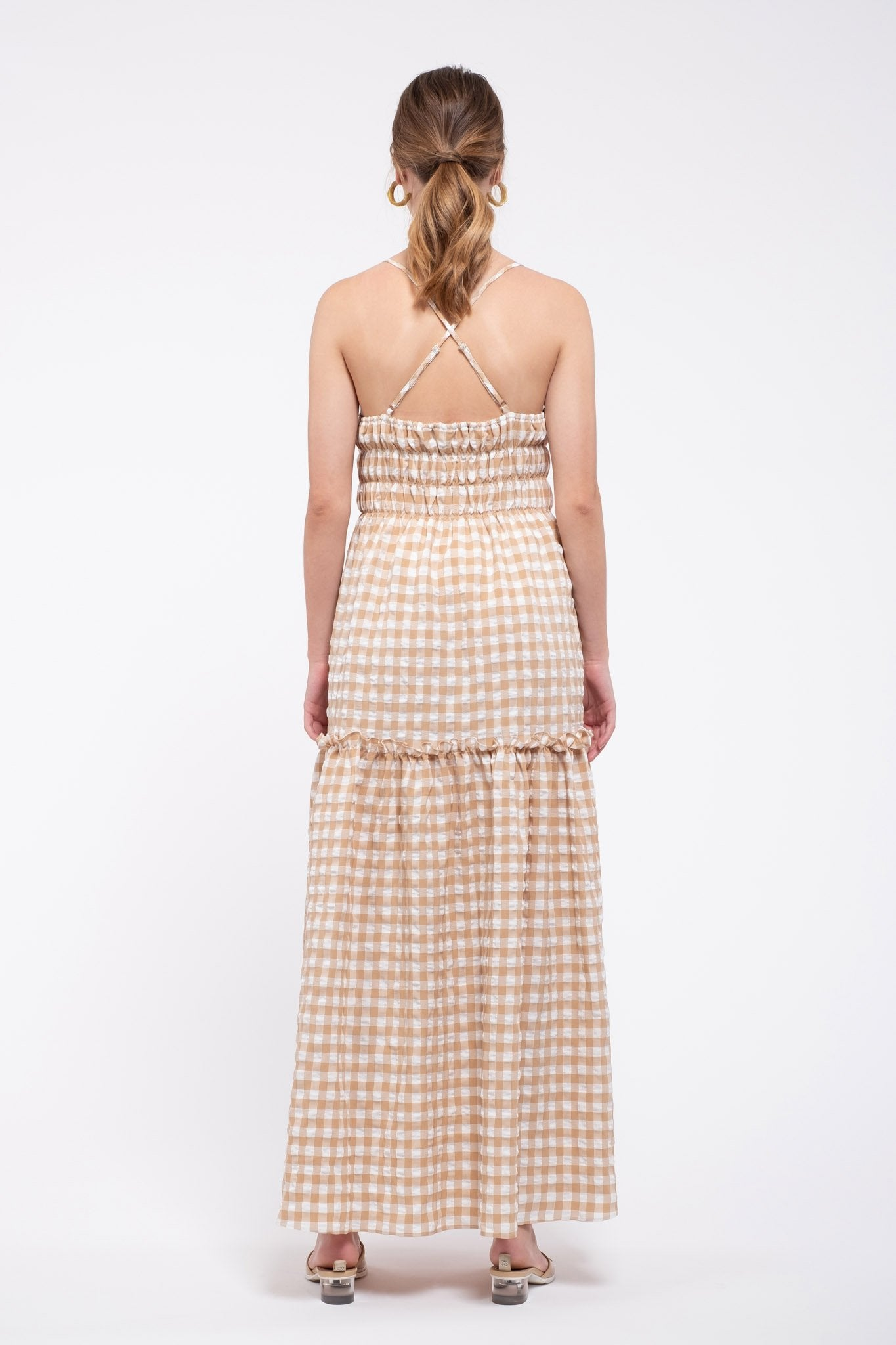Dress with Shirring and Back Cross Detail