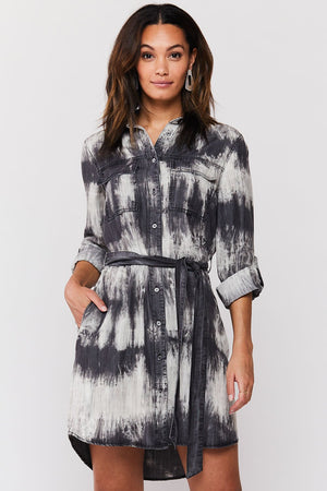 Tab Sleeve Button Up Dress