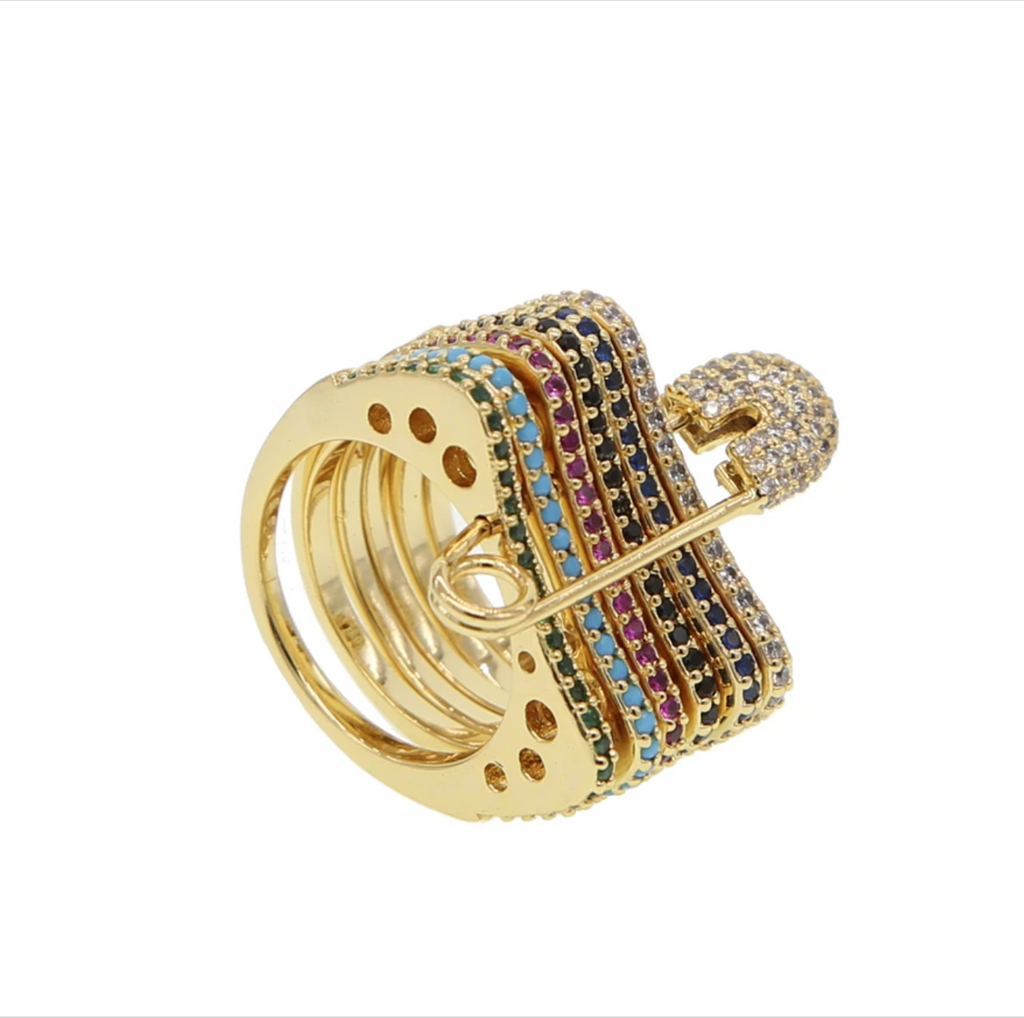 Pave Rainbow Safety Pin Ring