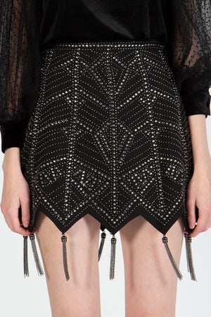 Beaded Tassel Mini Skirt