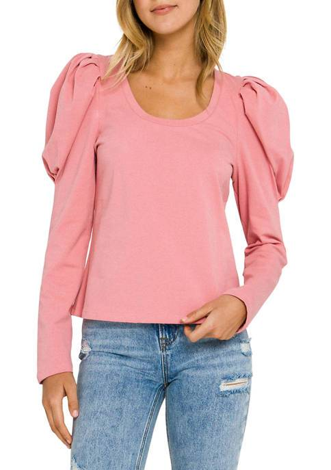 Pleated Puff Long Sleeve Top
