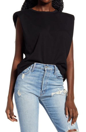 Padded Shoulder Tee in Black