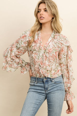 Bliss Button-Down Ruffle Blouse