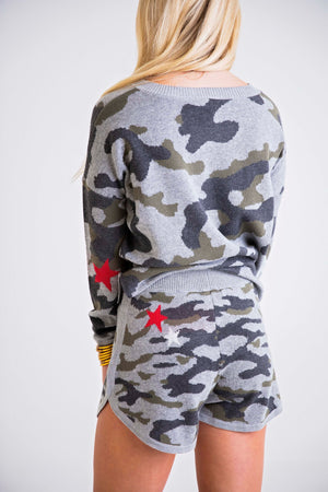 Camo Red Star Elbow Sweater Set with Mask