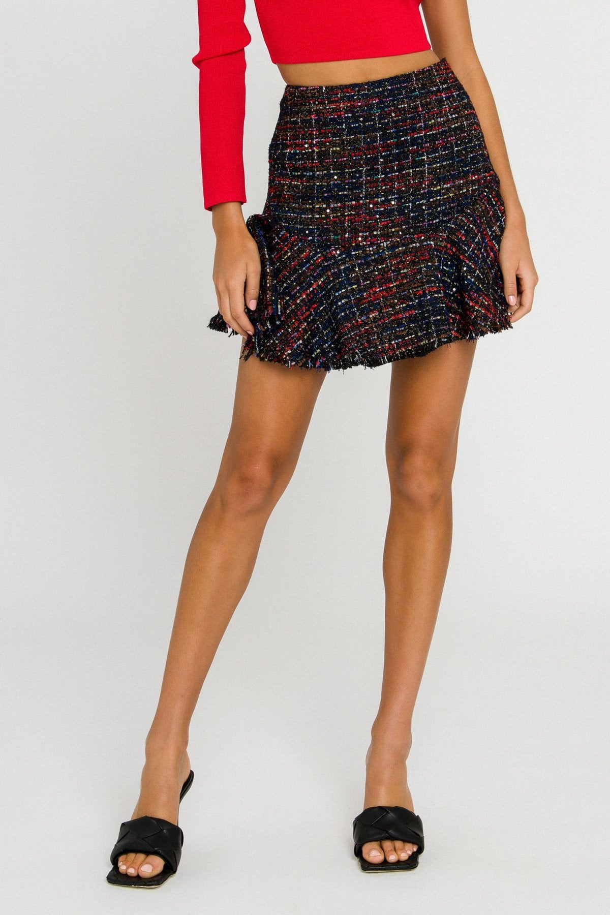Tweed Flare Mini Skirt
