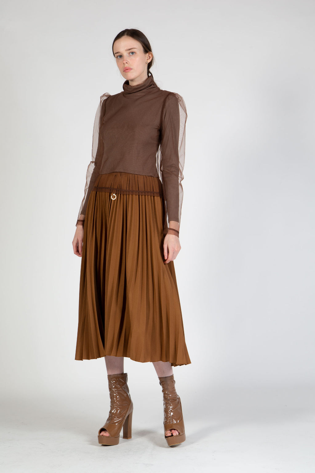 Camel Pleat Midi Skirt