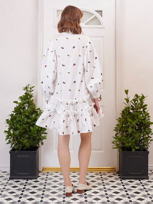Posy Embroidered Ruffle Mini Dress