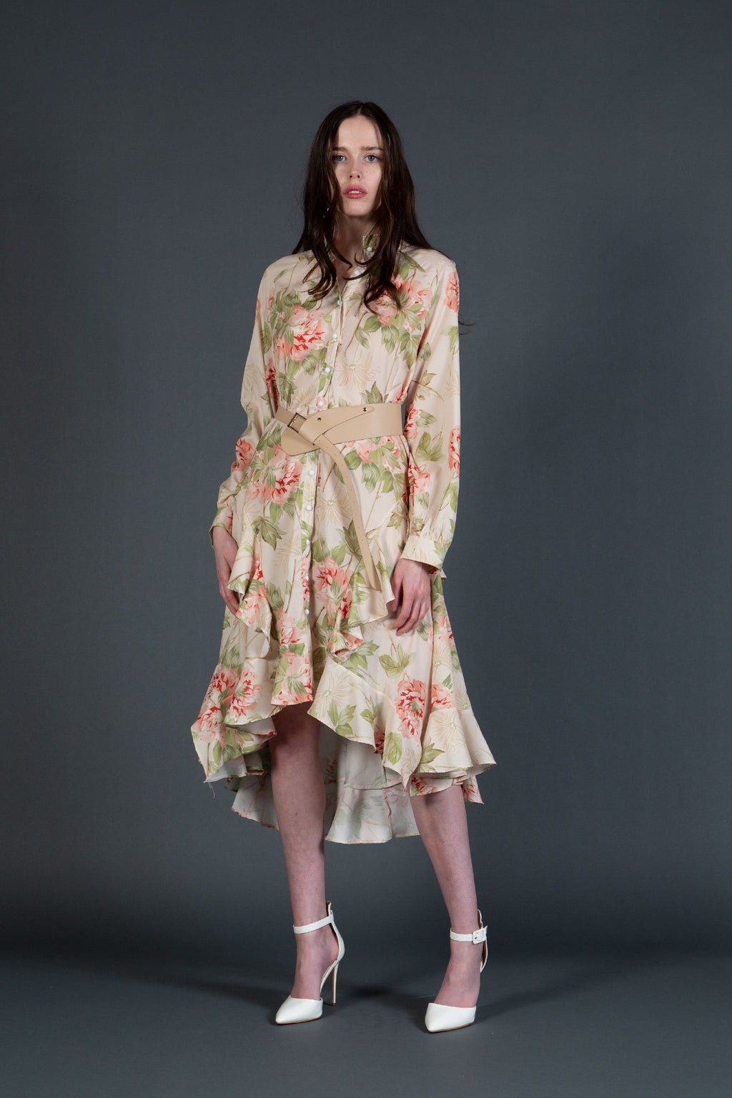 Delicate Floral Knee Length Dress