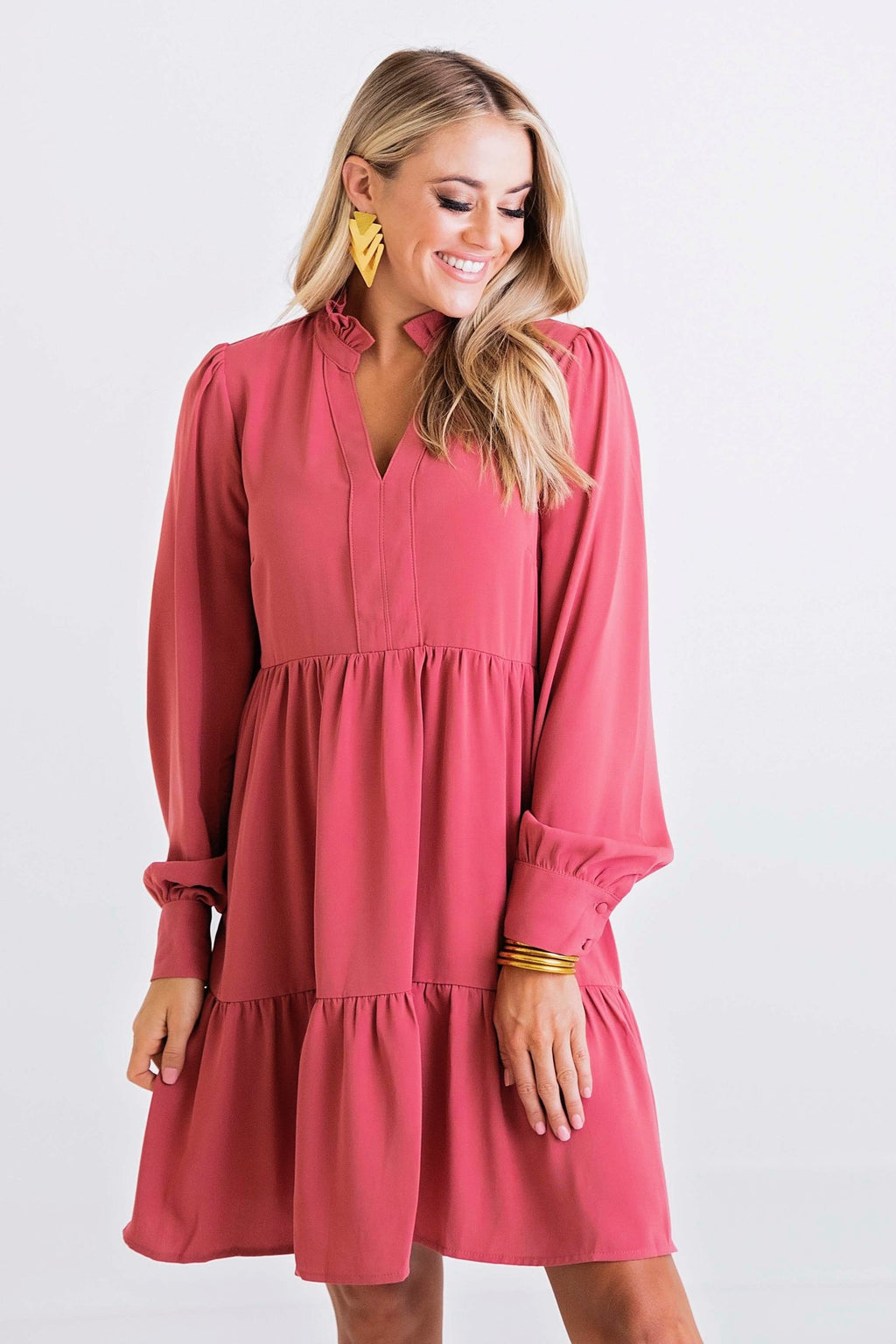 Solid V-Neck Ruffle Tier Dress