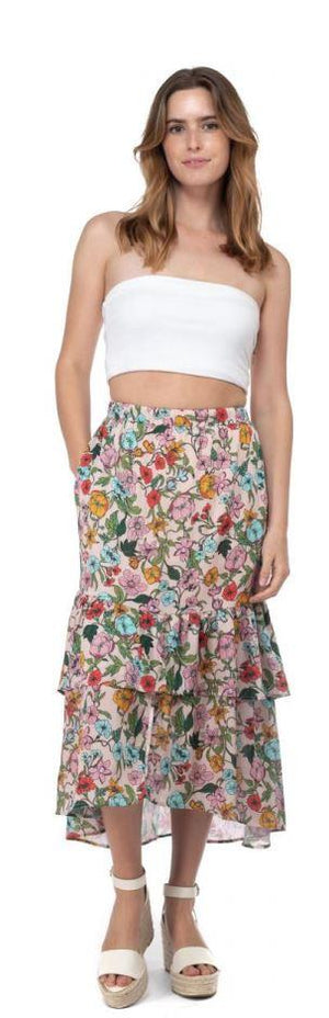 Floral Print Layered Skirt