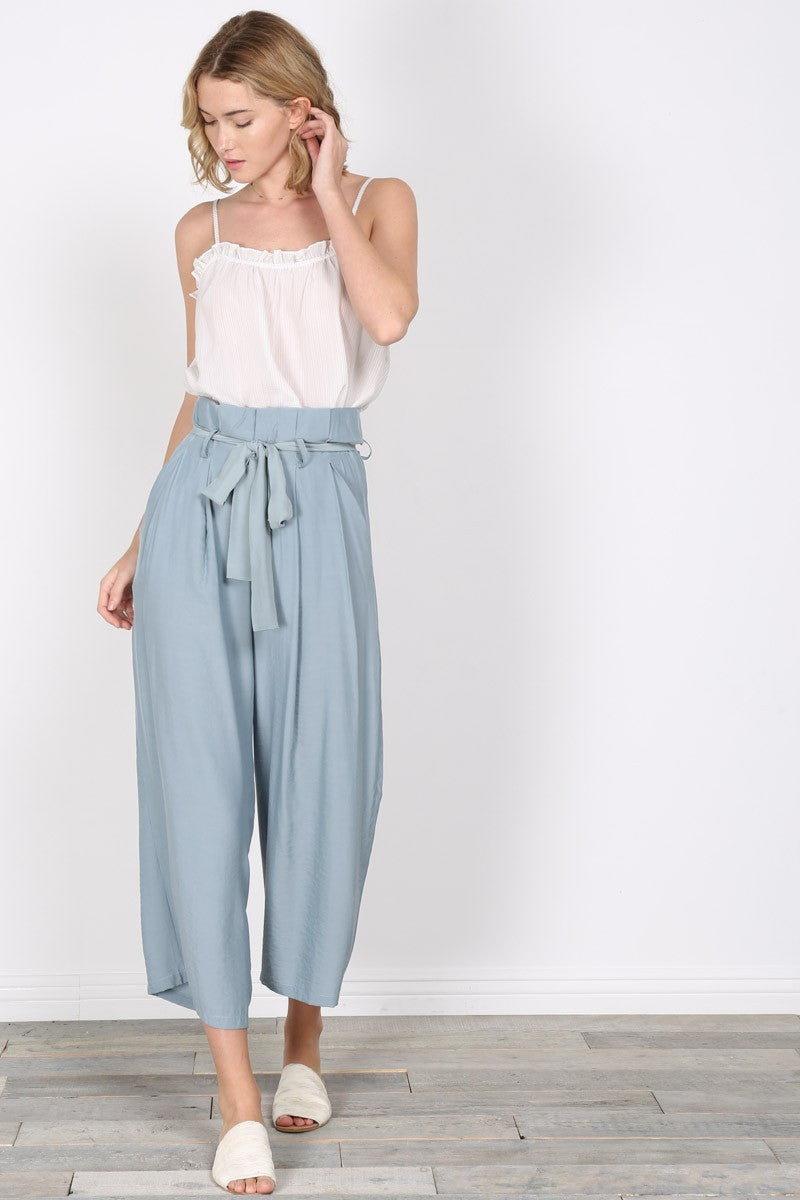 High Waist Ribbon Strap Wide Pants