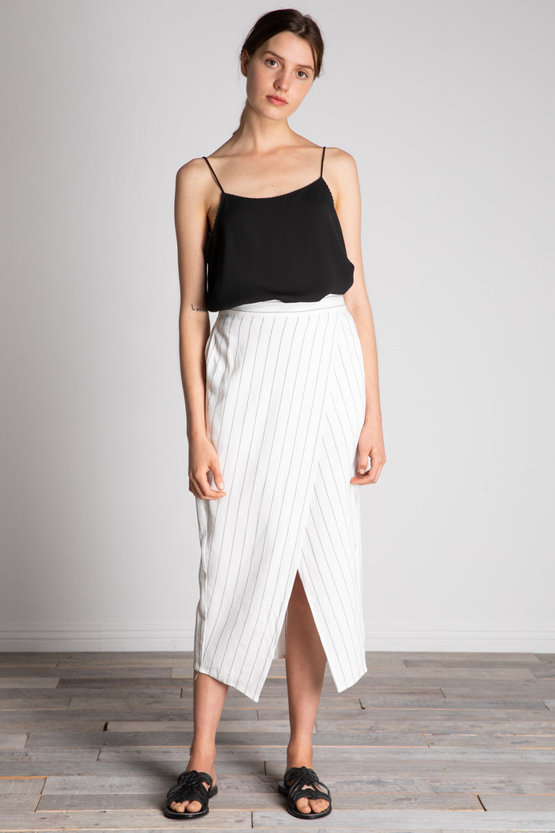 Linen Blend Stripe Wrap Skirt