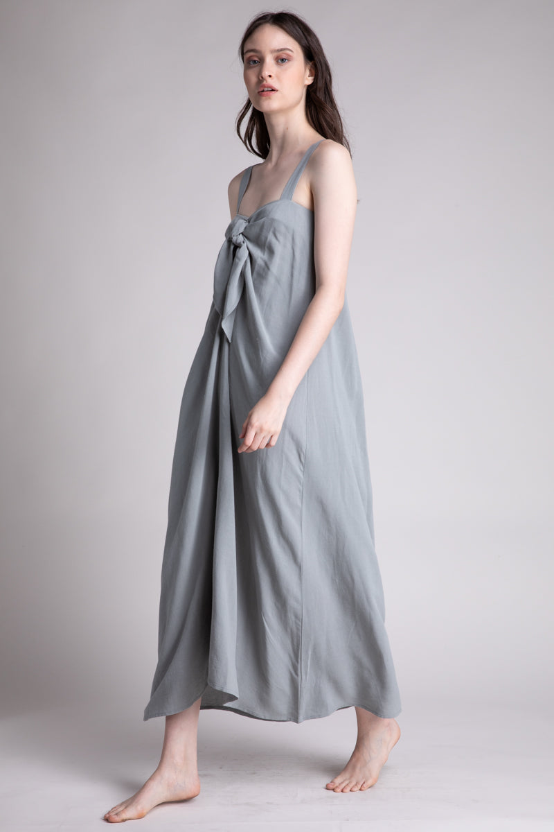 Linen Blend Tie Midi Dress
