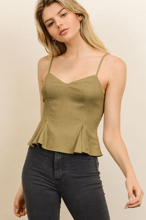 Linen Tucked Cami Top