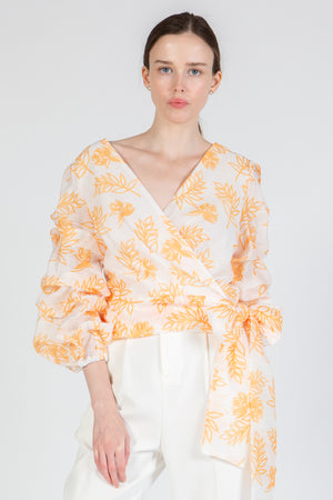 Orange Floral Print Wrap Blouse