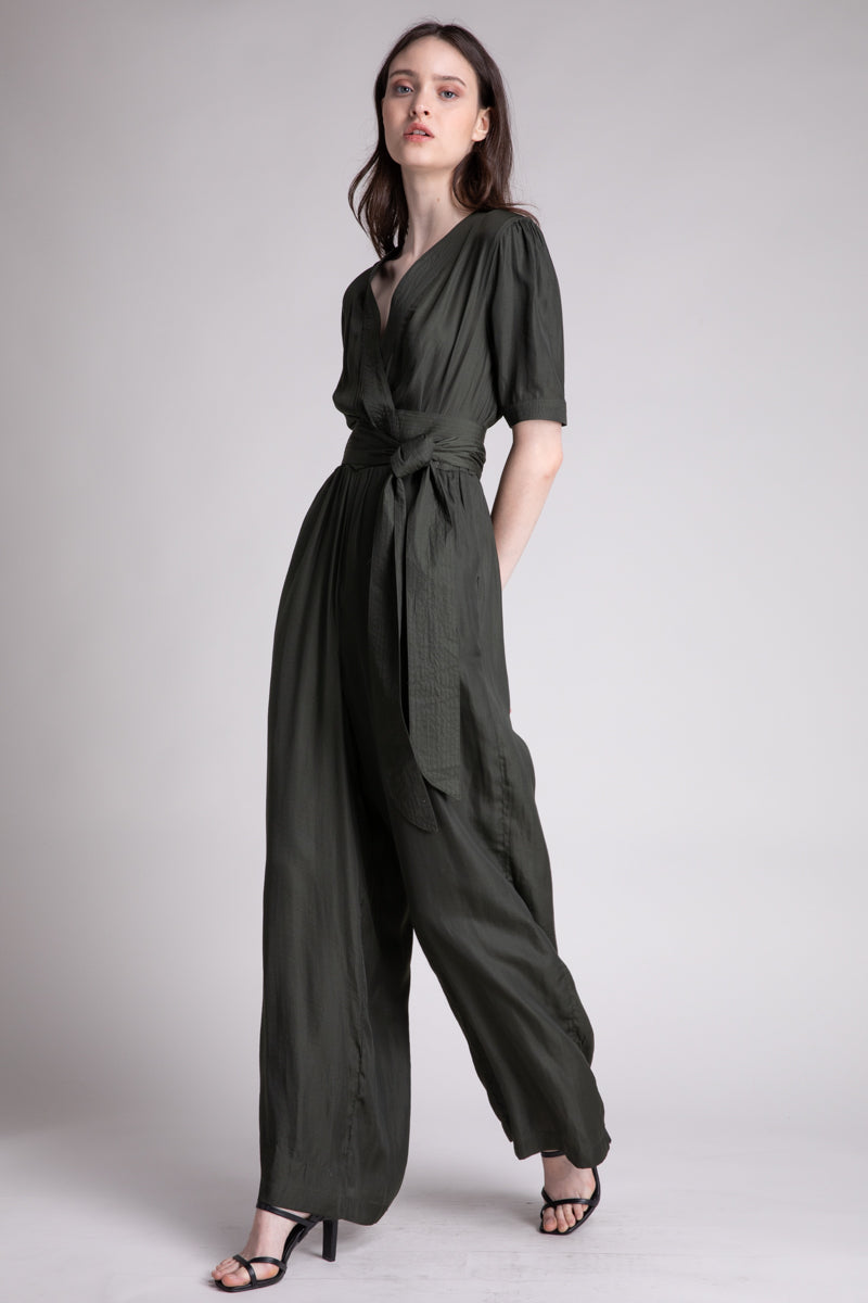 Quilted Band Satin Jumpsuit