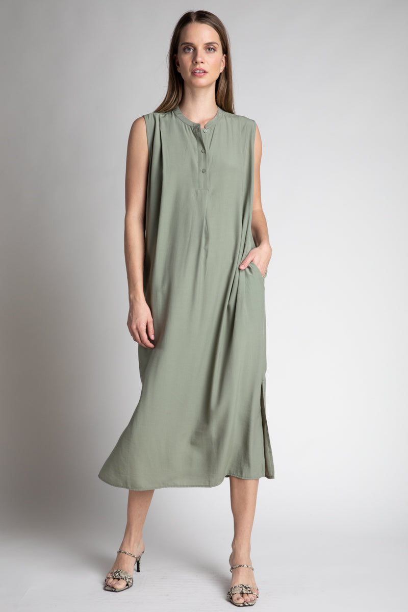 Shoulder Tuck Midi Dress