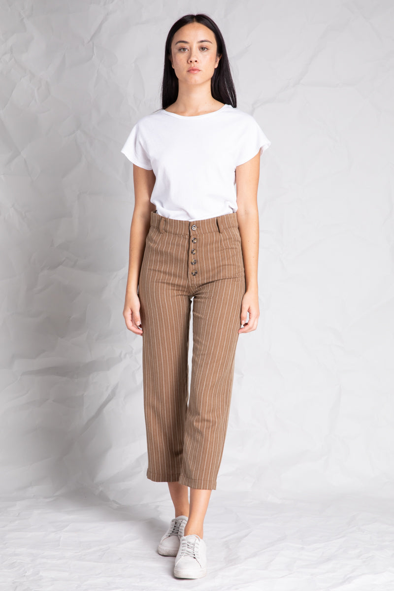 High Waist Stripe Front Button Pants