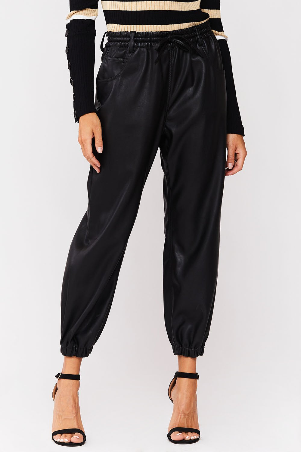 Tamari Pull On Faux Leather Joggers