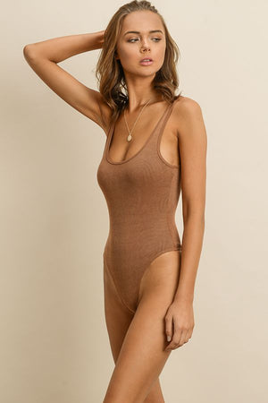 Sleeveless Ribbed Bodysuit Tan