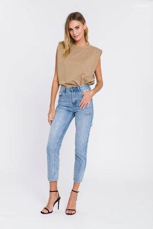 Padded Shoulder Tee in Taupe
