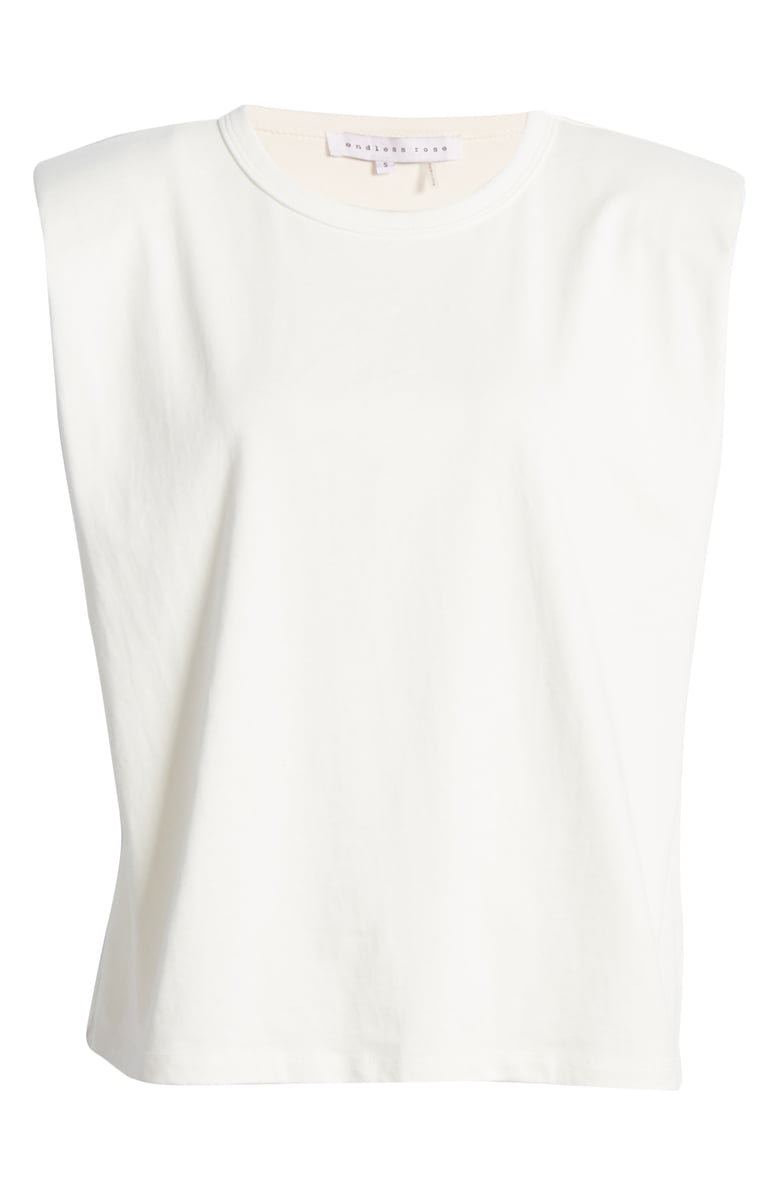 Padded Shoulder Tee in White