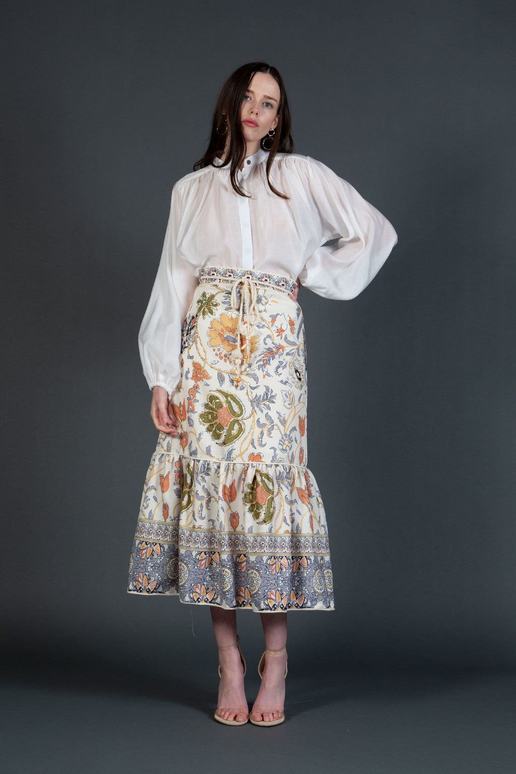 Floral Midi Skirt and Shirt Set
