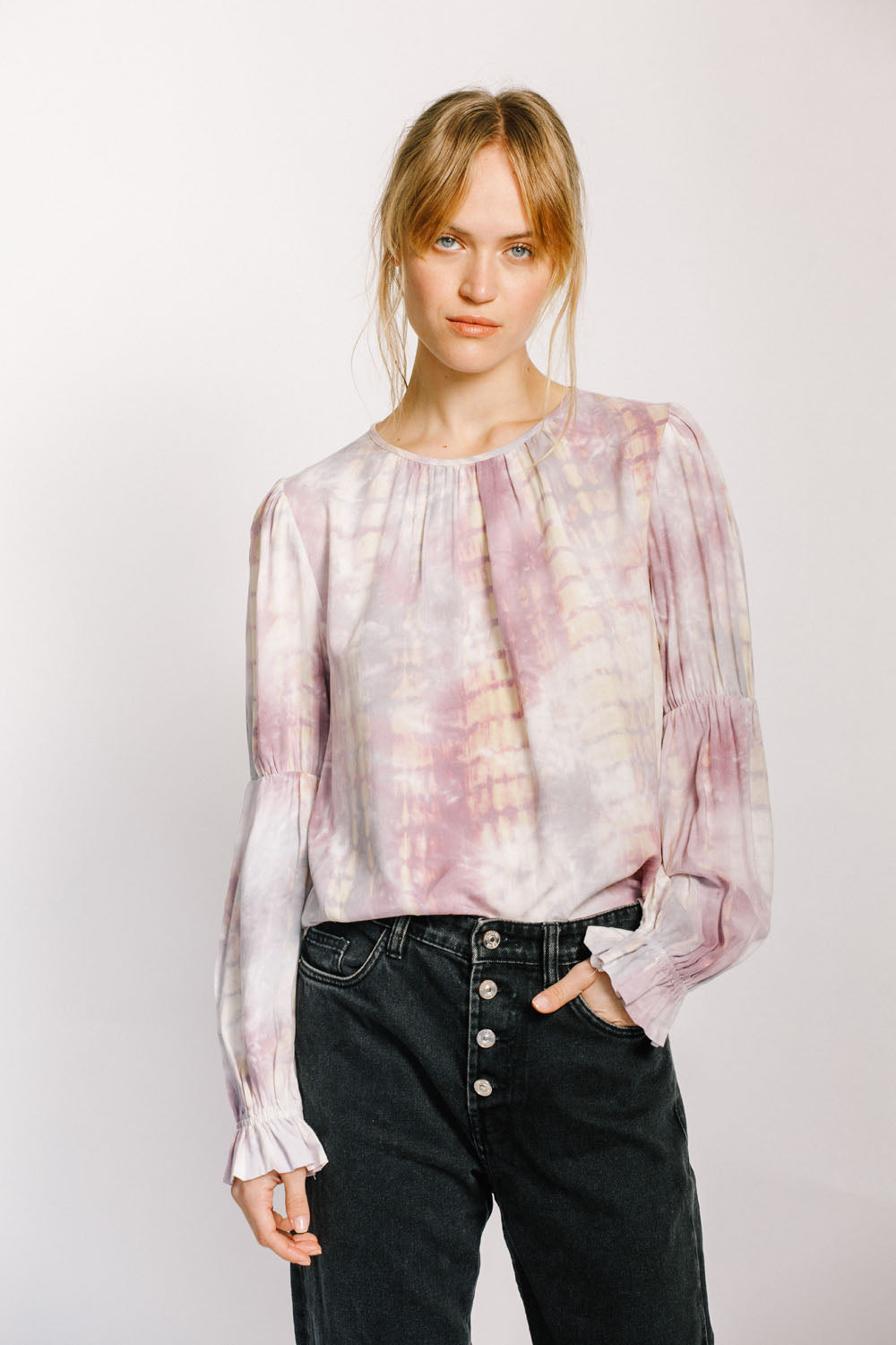 Tie Dye Shirred Blouse