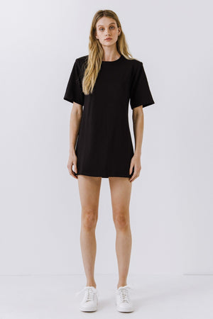 Black Shoulder Pad T-Shirt Dress