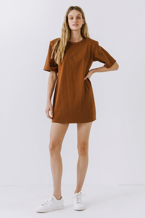 Brown Shoulder Pad T-Shirt Dress