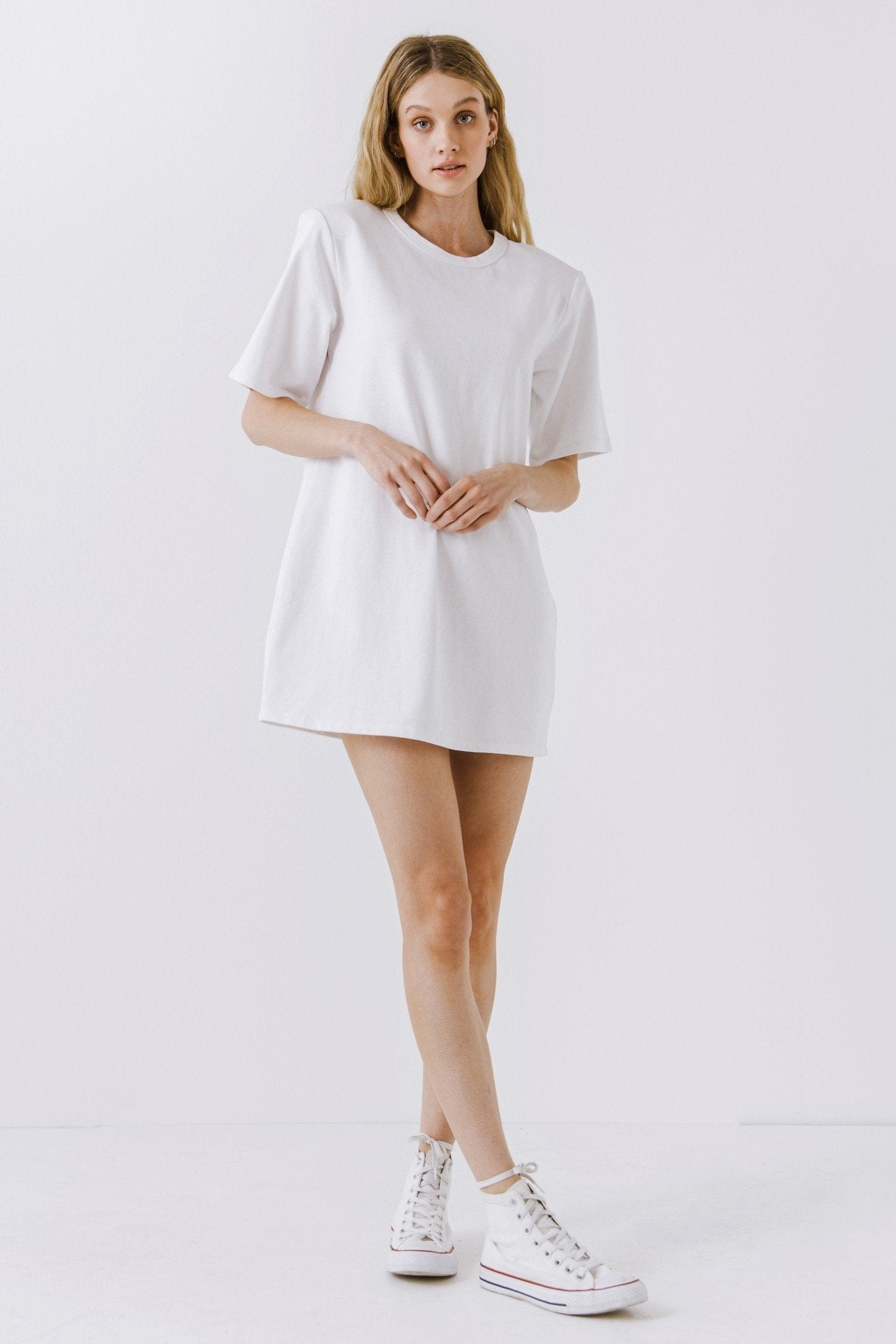 White Shoulder Pad T-Shirt Dress