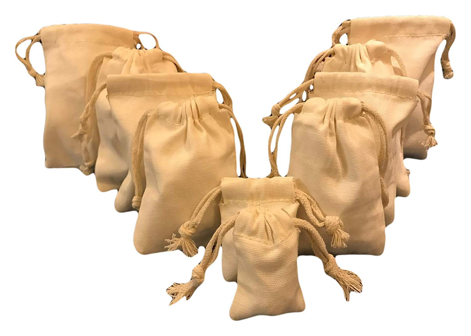 """Natural Color 12/""""x16/"""" Cotton Double Drawstring Muslin Bags"""