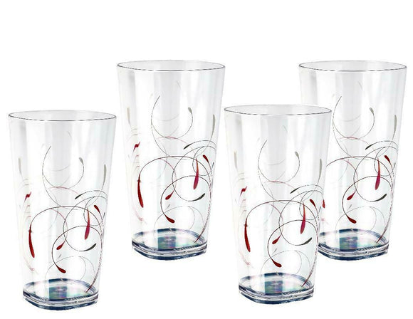 4 Corelle SPLENDOR Acrylic DRINKWARE Beverage Glasses Red Grey 19-oz Tumblers