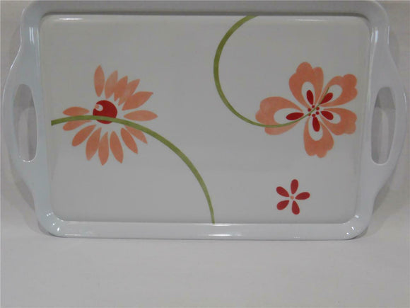 Corelle PRETTY PINK Melamine RECTANGULAR TRAY Serving 19 x 11 Ink Washed Floral
