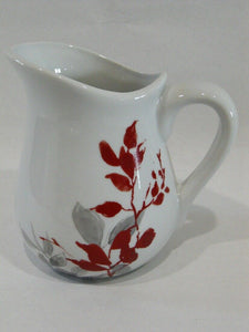 Corelle KYOTO LEAVES Syrup Sauce Pitcher Red Gray Japanese Watercolor Leaves