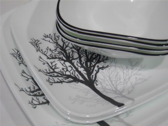 CORELLE Square TIMBER SHADOW 12-pc DINNERWARE SET *Black Grey Leafless Branches