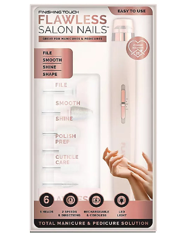 *NEW Finishing Touch FLAWLESS SALON NAILS Pedicure Manicure Tool / Home Travel