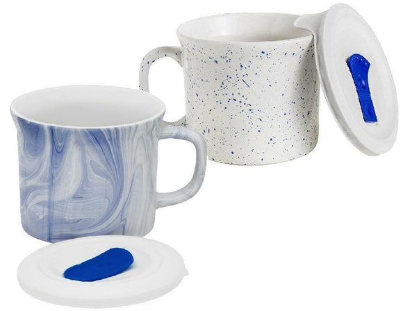 MARINE MARBLE or SPECKLED BLUE 20-oz MEAL MUG Corningware Stoneware Pop-Ins