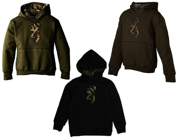 BROWNING Boys Youth BUCKMARK HOODIE Sweatshirt Pullover GREEN BROWN or BLACK New