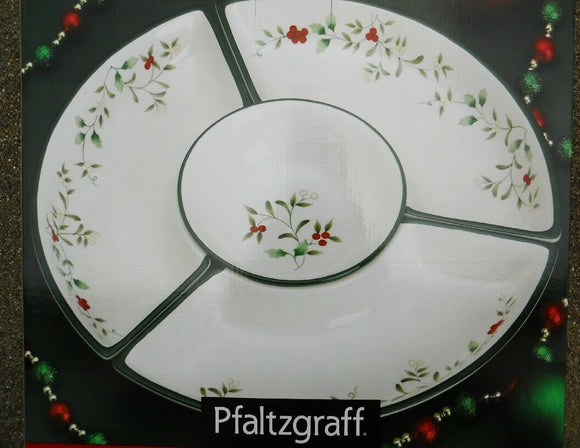 Pfaltzgraff 4-pc WINTERBERRY DIP & SERVE SET Christmas Stoneware Dining Party NW