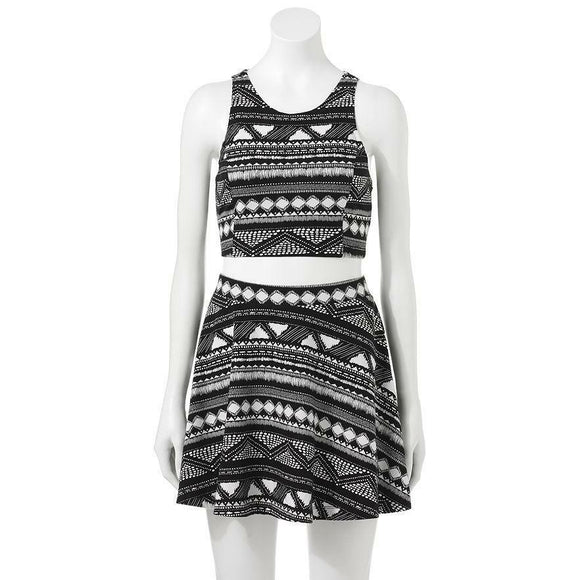 2-pc Aztec Big Inky Black White TANK TOP & SKATER SKIRT SET *Cool Summer Outfit