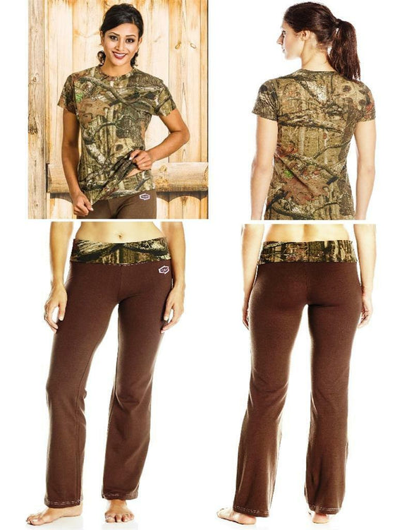 YUKON GEAR Mossy Oak LOUNGE PANTS & SHIRT SET Choose: BROWN CAMO / BLACK PINK