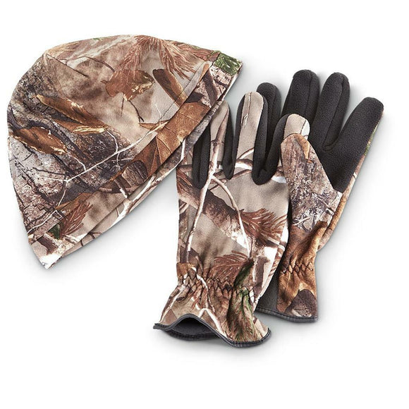 IRON CLAD Fleece Camo BEANIE & GLOVE Set PULL-ON Hat Cap REALTREE Camouflage NEW