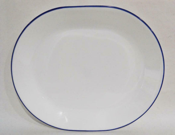 NEW Corelle NAVY INDIGO BLUE RIM SERVING PLATTER *Cafe, True, Folk Stitch, Lia
