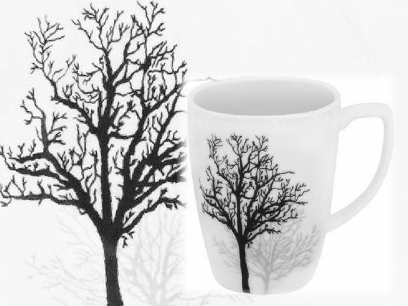 Corelle Square TIMBER SHADOWS 12-oz Porcelain MUG *Black Grey Leafless Branches