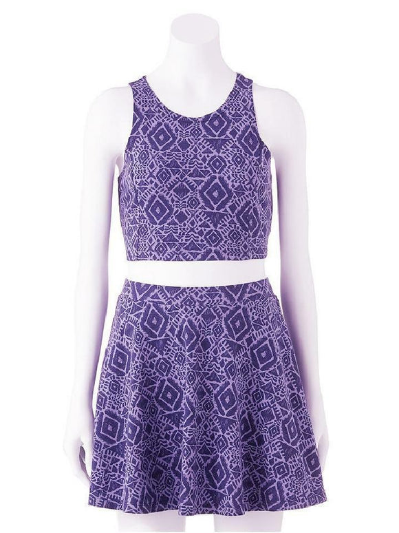 2-pc Aztec Snake Eye Purple TANK TOP & SKATER SKIRT SET Adorable Summer Outfit