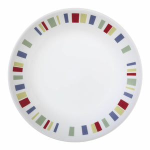 "1 Corelle MEMPHIS 6 3/4"" BREAD Dessert PLATE *Red Blue Yellow Green STRIPES *New"