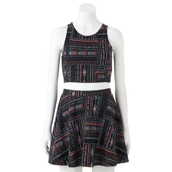 2-pc Southwest Western Tribal TANK TOP & SKATER SKIRT SET Cool Summer Outfit